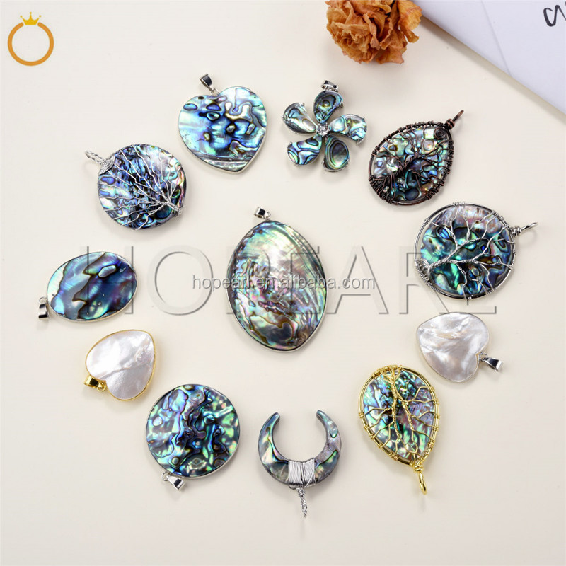 MOP179 Boho Chic Ocean Jewelry Teardrop Abalone Mother of Pearl Shell Organic Cabochon Pendant