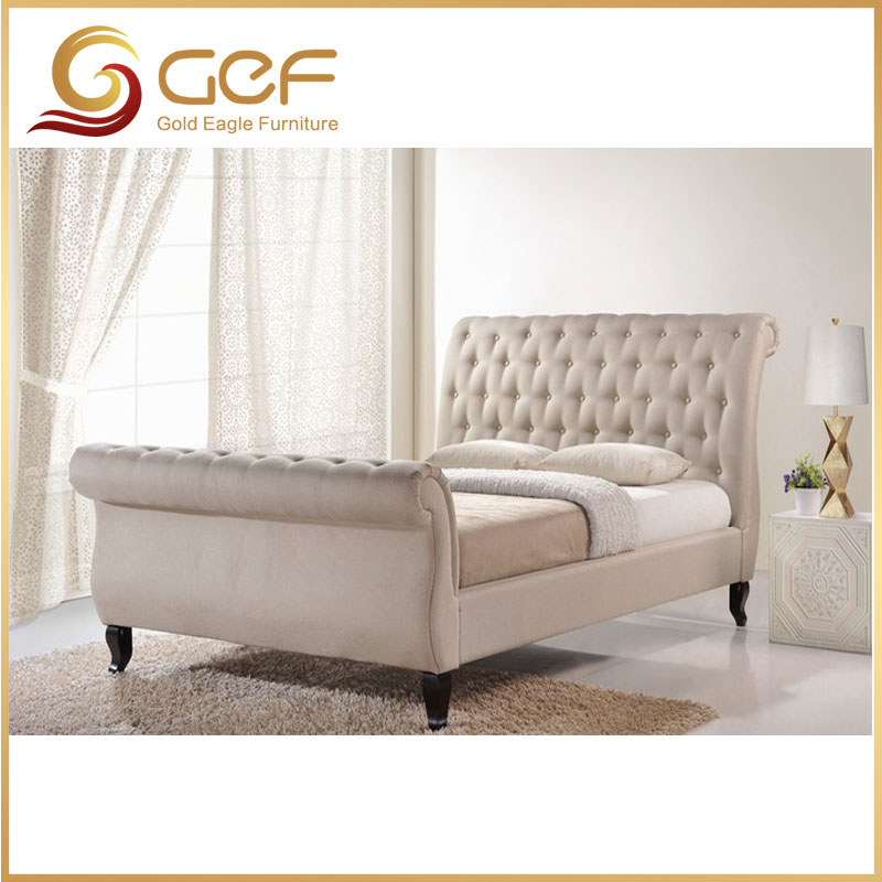 Hot sale model button tufted sleigh bed