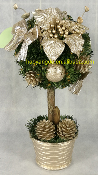 small artificial christmas topiary ball tree tabletop xmas trees - Christmas Topiary