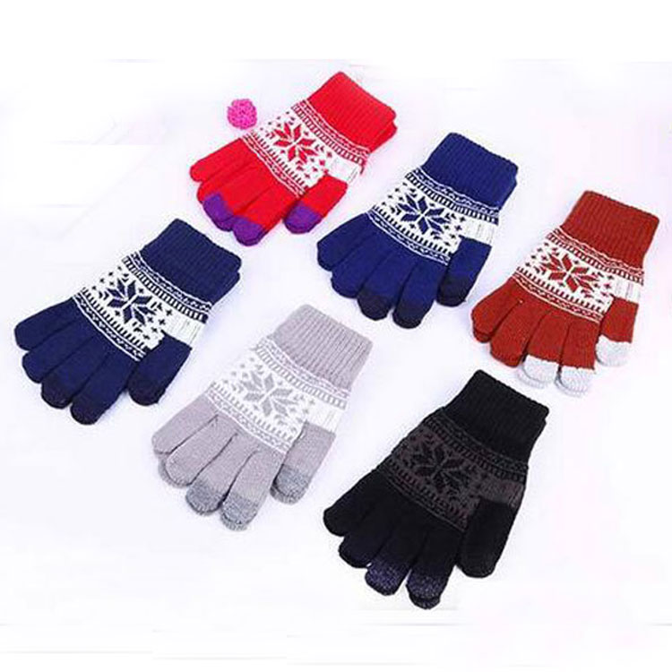 New knitting colors soft wool custom colorful 2 finger snowflakes jacquard touch screen gloves good price hand gloves gym gloves