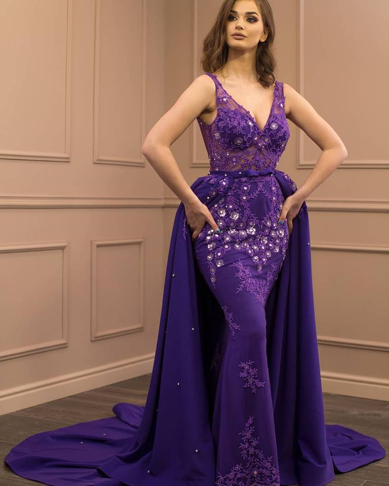 6a3d6a2c1fb Purple Evening Dresses 2018 Prom Dress Mermaid Sheer V Neck Women Formal  Long Pageant Dresses Evening Gown with Overskirt