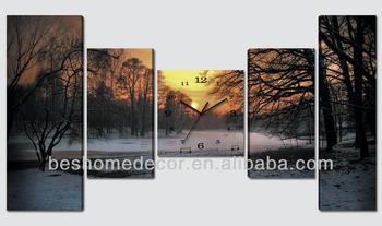 Zonsondergang bos moderne woning decoratie handwerk canvas klok