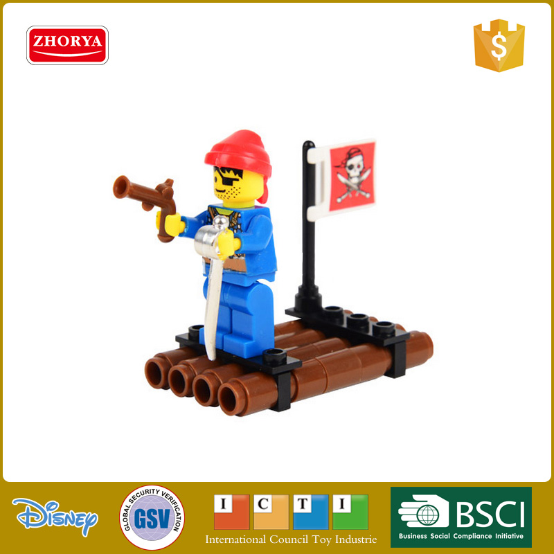 Plastic Pirate series Small raft Mini building block doll toys 34 PCS Compatible with Le-go for boys toys