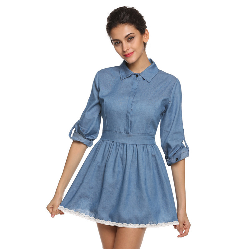 High quality 2015 Spring and autumn clothing plus size women denim lace dress elegant slim cowboy casual dress Free shipping