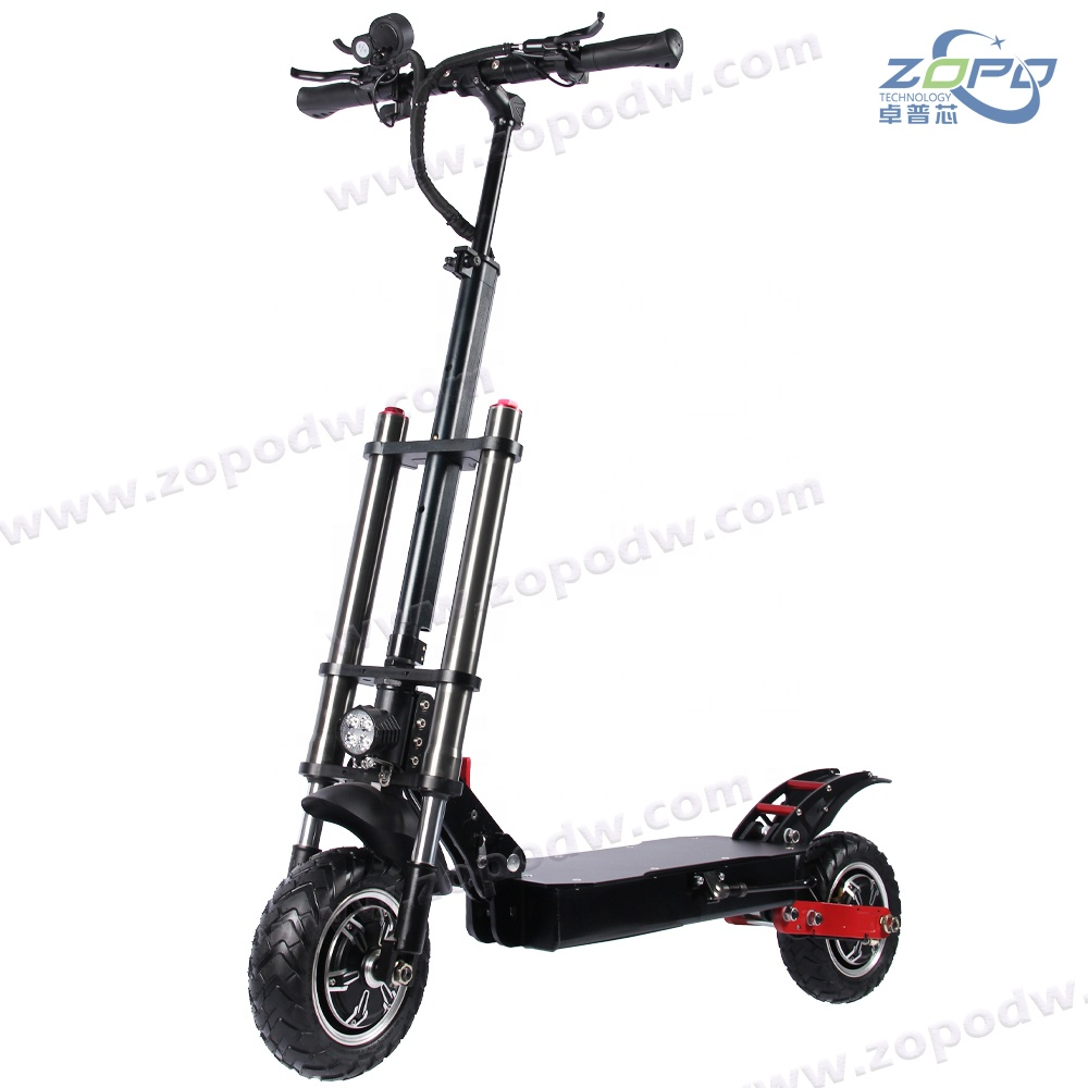 52V 2400W dual motor powerful electric scooters 10inch High Quality long range foldable off road tire and Road tire, Black+red