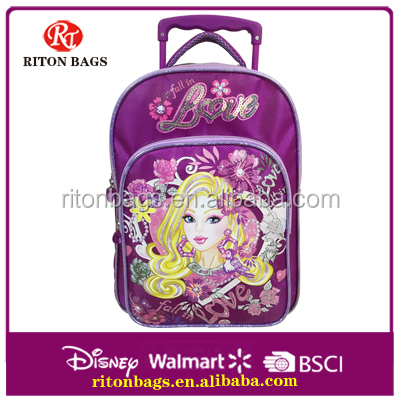 Fashional Backpack Durable Purple Student's Trolley Backpacks Bags for Kids