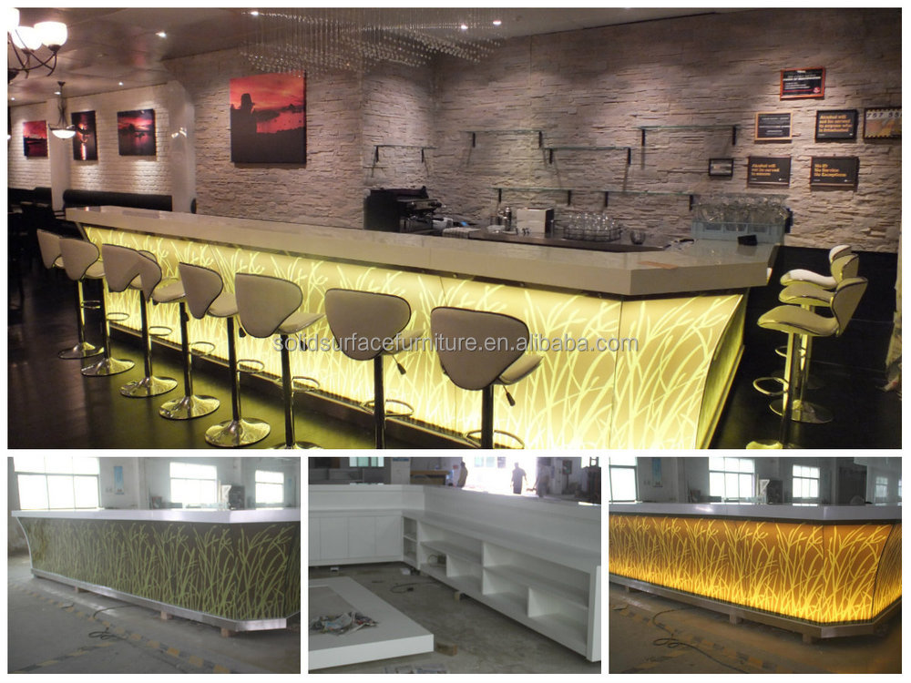 Awesome Artificial Stone Solid Surface Night Led Light Bar Counter Design