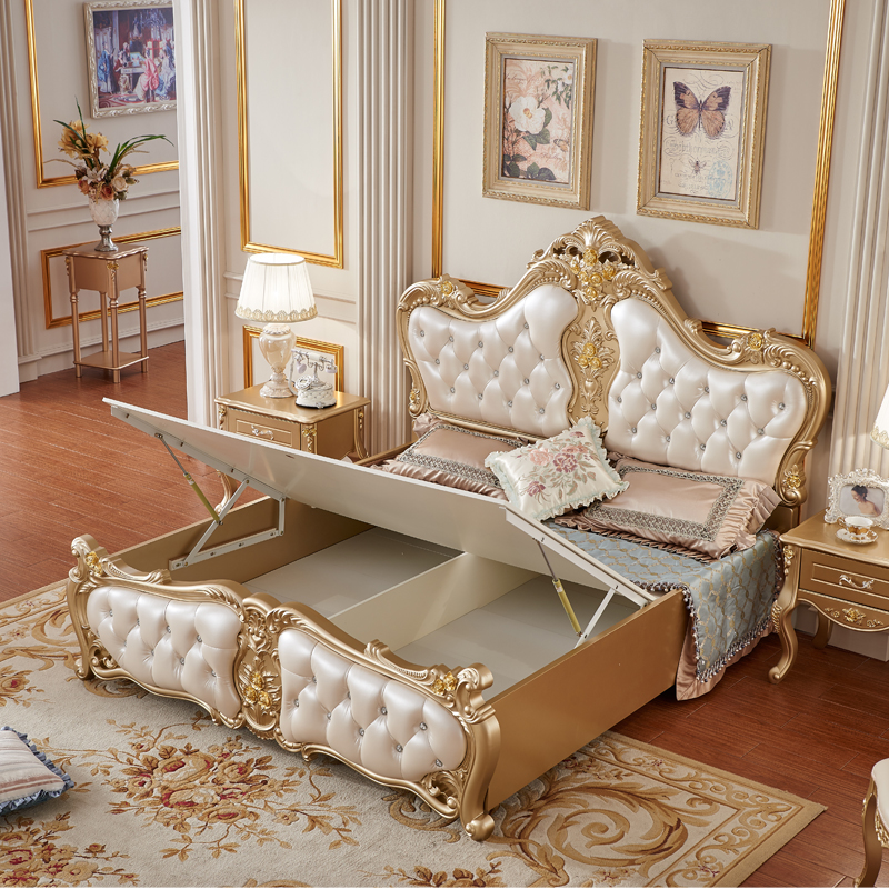 High-end champagne gold full bed with nightstand