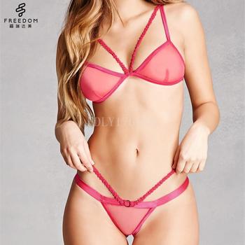917e1cfa4bf new bra panti photo underwear woman bra and panty set Strappy Mesh Bralette    Panty Set