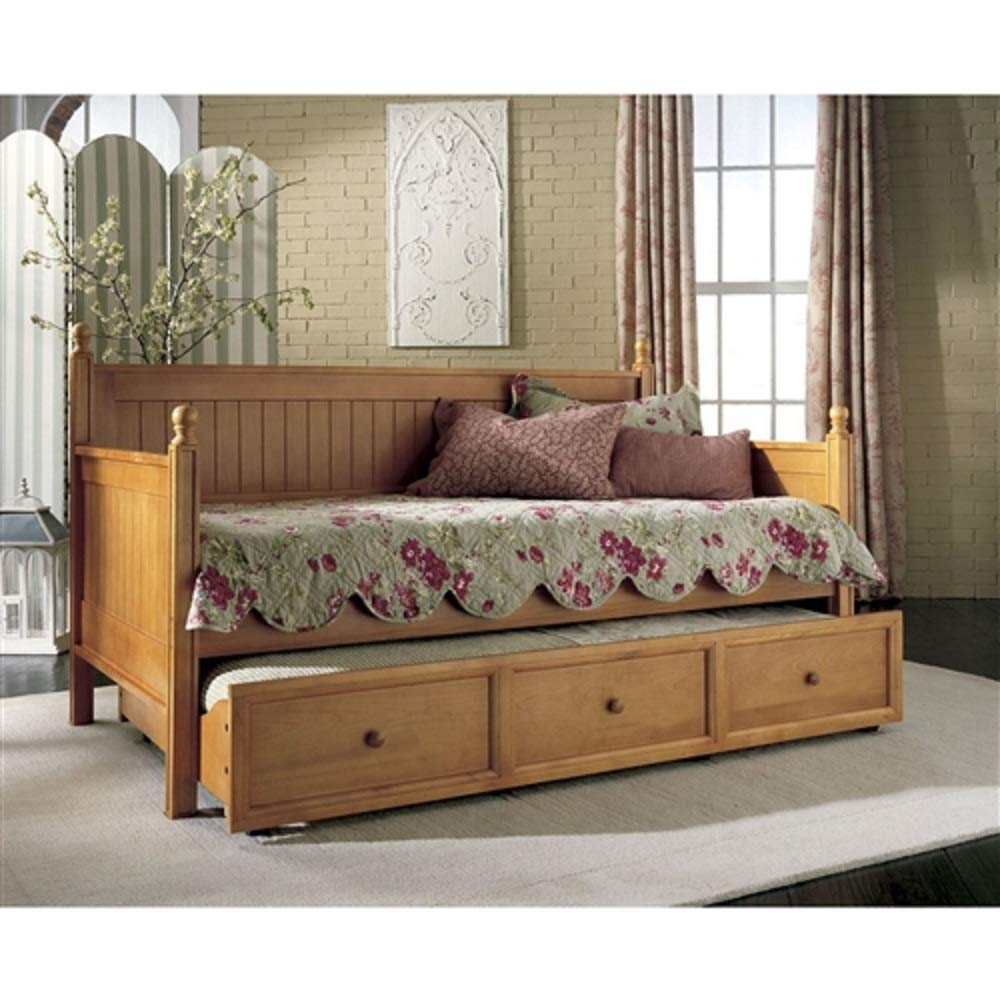MyEasyShopping Twin size Contemporary Daybed with Roll-Out Trundle Bed in Maple Wood Finish Bed Frame Antique Wood French
