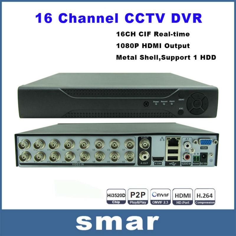 16 Channel DVR H.264 Standalone CCTV DVR Recorder,P2P Cloud Access,1ch Audio Input,Mobile Phone Android Security DVR 16CH