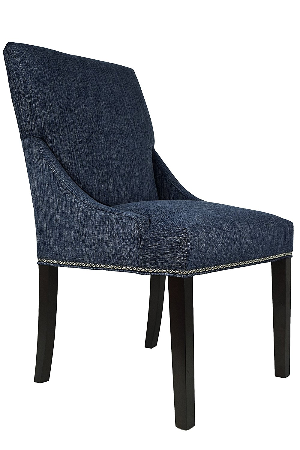 Sole Designs, Inc. Sole Designs Marie Collection Lucky Upholstered Spring Seat Double Dow Dining Chairs (Set of 2) with Nailhead Trim, Denim