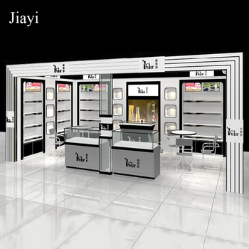 Glass Door Mdf Cosmetic Shop Display Rack Design For Make Up Store