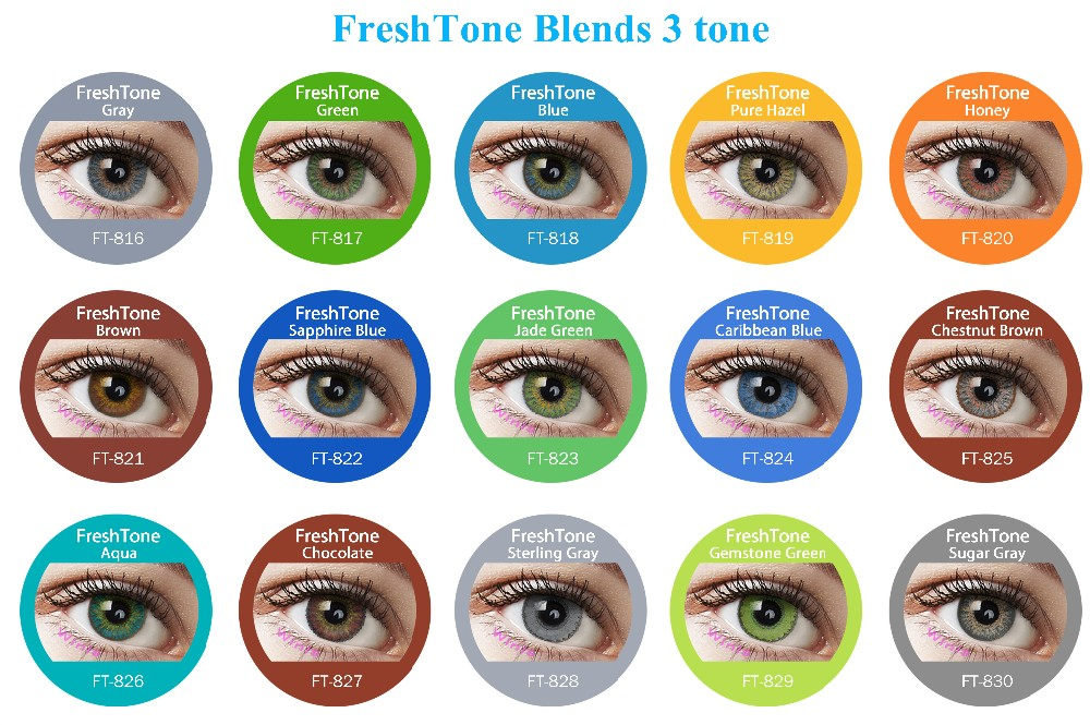 15 Colors 3 Tone The Most Por Brand Fresh Color Blends Look Contact Lenses