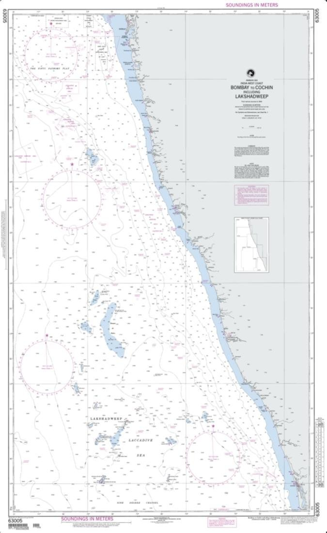 NGA Chart 63005-Bombay To Cochin Including Shadweep (India)