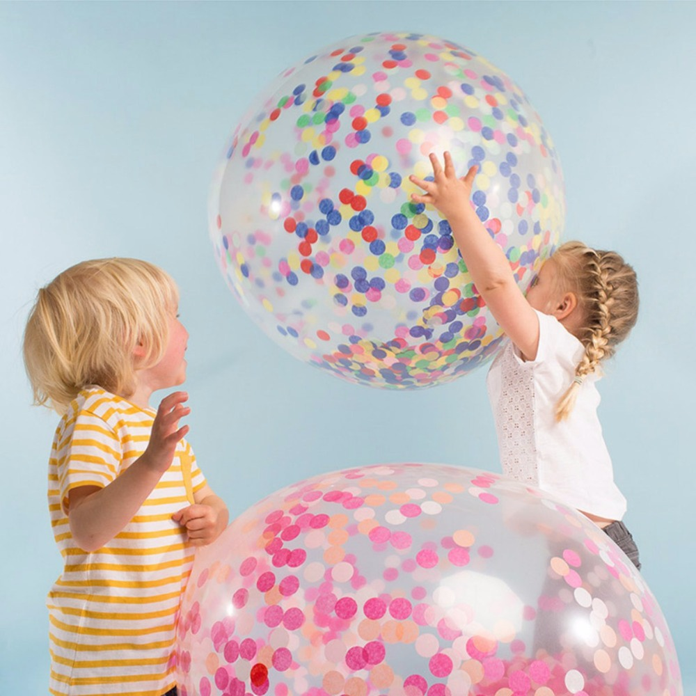 "36"" Confetti Balloons Big clear latex balloon with Confetti is for wedding party decoration kids toy"
