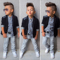 2017 hot sale 3pcs kids clothing boys sets with T-shirt and jacket and jeans