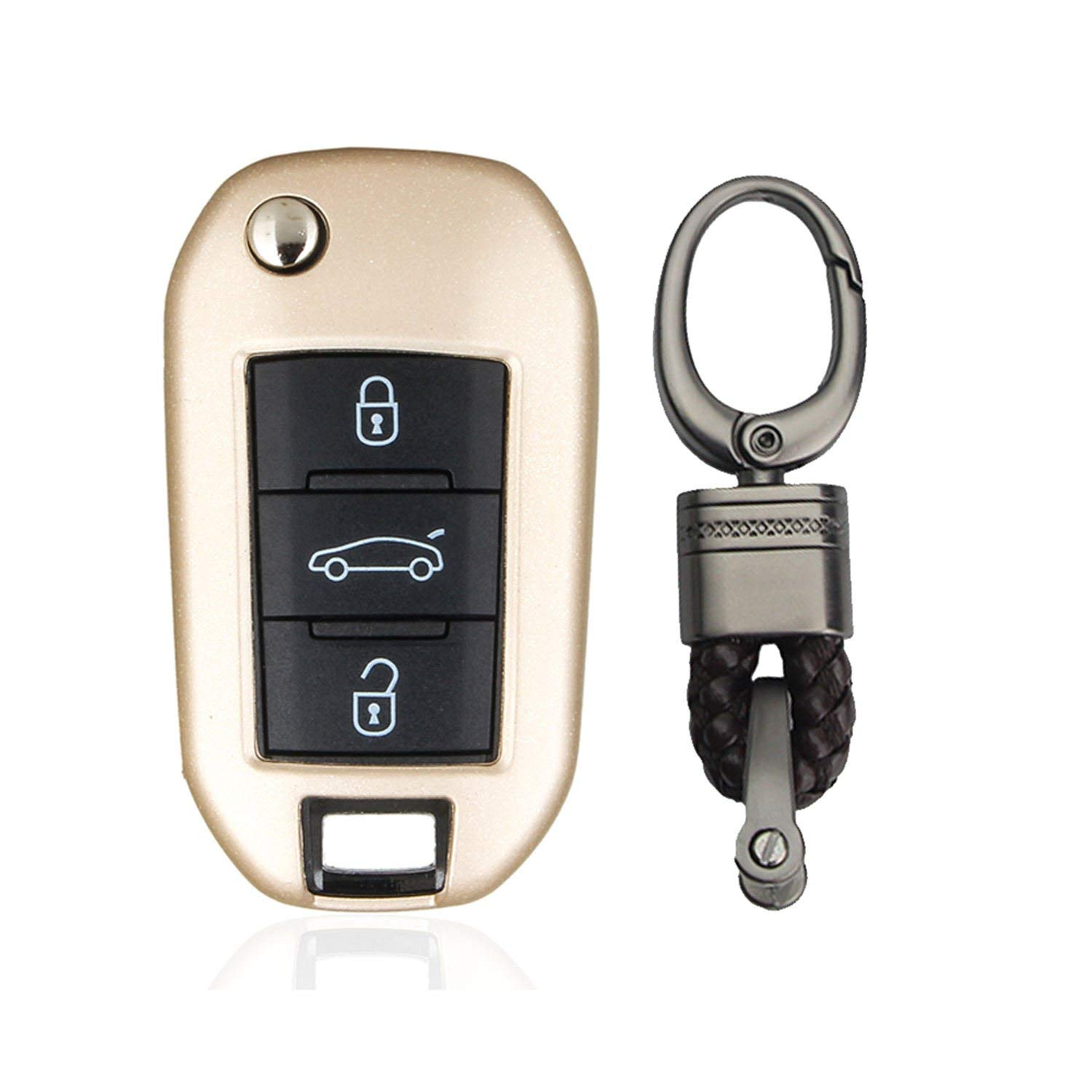M.JVisun TPU Soft Silicone Case Cover Protector Shell For Peugeot Flip Key Fob, Car Remote Key Fob Case Skin Cover For Peugeot 2008 301 308 308S 3008 408 4008 508 Fob Remote Key With Keychain - Gold