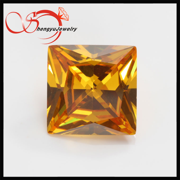 4*4mm square golden yellow lab created aaa cubic zirconia <strong>diamond</strong>