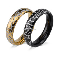 custom men women split rings stainless steel with black and yellow gold plated