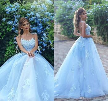 0e438b9b2 2018 elegante de las mujeres luz azul cielo vestido largo recepción Formal  vestidos con 3D-