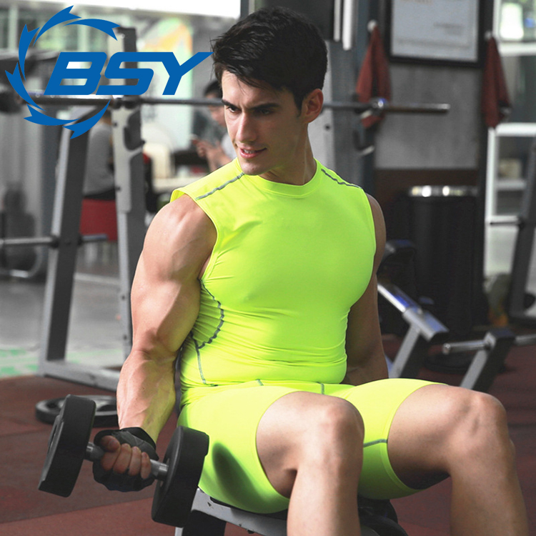 China Wholesale Men Compression Short Sleeve Sports Tight T Shirts Fast Drying Gym Tank Tops