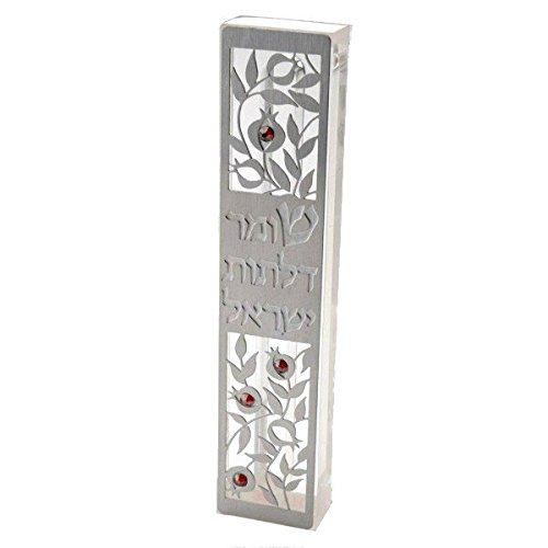 Dorit Judaica Mezuzah Case MZN-7 for 12cm scroll Perspex base cut out Stainless Steel with Swarovski Stones
