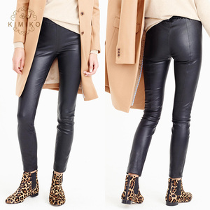 Women Pants Sexy Fashion Elastic Waist Black Leather Trousers