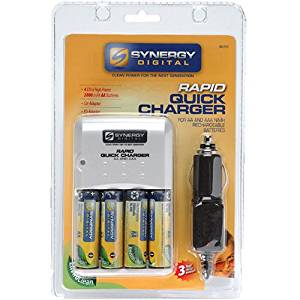 Synergy Digital-Rapid Quick Charger with Four Ultra High Power 2800 MaH AA Batteries