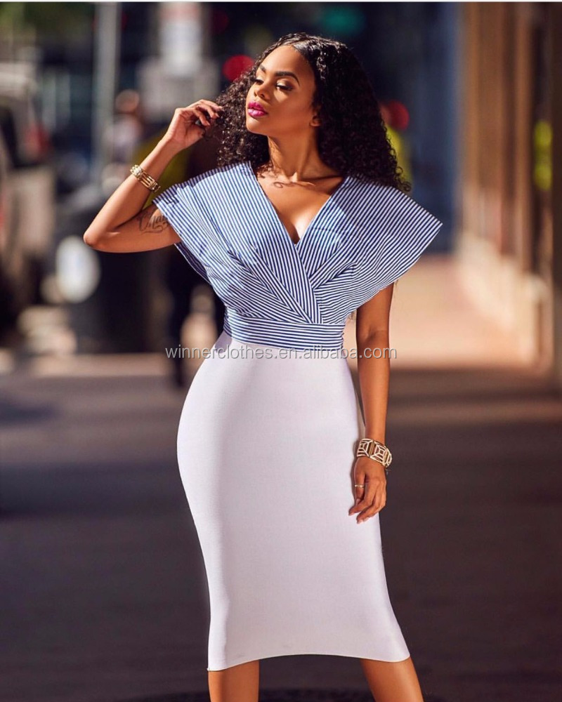 sexy v-neck dresses for office lady 2017 bodycon women dresses for girls