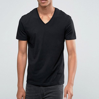 Factory Price 95% Cotton 5% Elastane V Neck Slim Muscle Fit T Shirt Branded T-Shirt In Top Quality