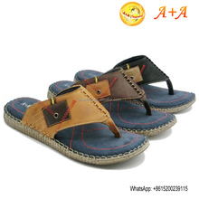 2016 summer comfortable new leather men beach slippers