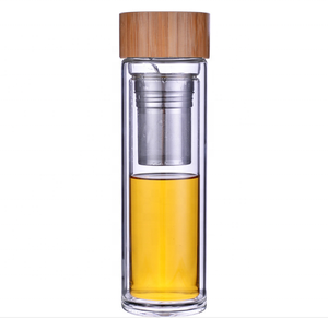 BPA free double wall Borosilicate Glass Tea Filter Infuser Drinking Water Bottle with top bamboo caps lid