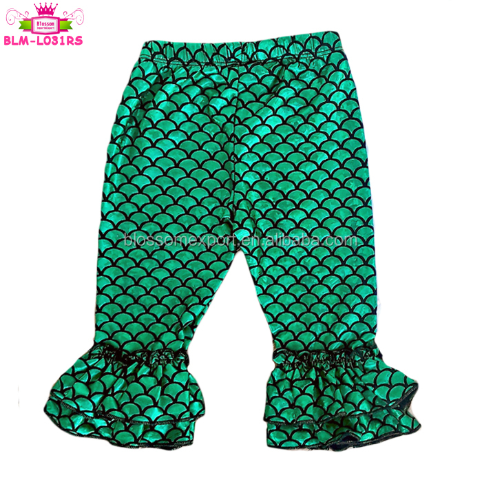 Summer Double Ruffle Bottom Fish Scale Toddler Girls Little Mermaid Leggings 2018 Sparkle Green Mermaid Pants For 6M-8Y Kids