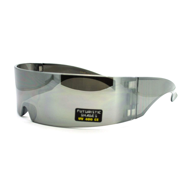 a3bef4d8d79 Futuristic Shield Sunglasses Monoblock Cyclops 100% UV400 7.99. Futuristic  Robotic Daft Punk Monoblock Shield Rimless Wrap Sunglasses
