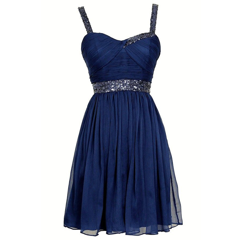 Sparkly Short Homecoming Dresses Navy Blue Chiffon Custom ...