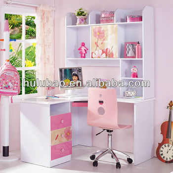 962 Children Kids Modern Study Desk With Cabinet Shelf Drawer Bookcase Computer
