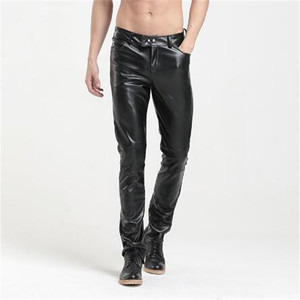 European slim fit skinny fashion sexy stretchy casual skinny black motorcycle men business PU leather biker trousers pants