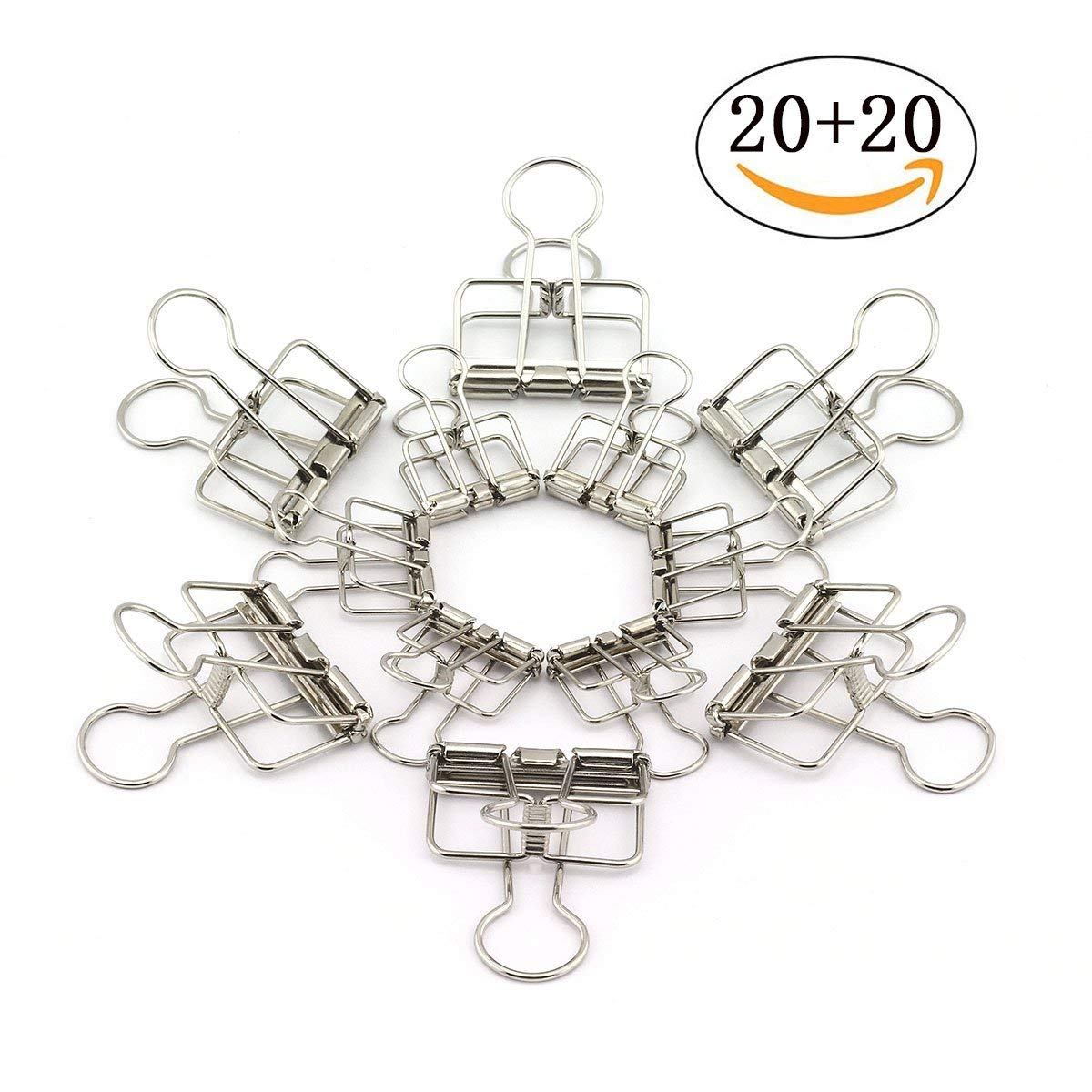 RuiLing 40-Pack Multi-purpose Metal Wire Binder Clip Set,20pcs 2.25 Inch & 20pcs 1.57 Inch Paper Metal Clips,for Home Office Supplier School Accessories - Silver