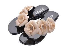 2015 New Summer Hot Women Sandals With Beautiful Camellia Flower Sweet Flip Flops XWZ455