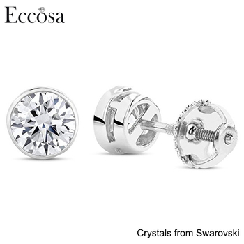 sterling cz amazon screw silver stud back screwback round com earrings dp jewelry solitaire plated rhodium