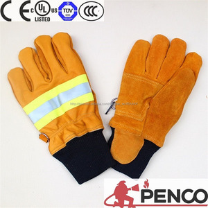 fire fight gloves 3m reflector hand fingers protected fire retardant cowhide on palm CE certificate nomex 3 m reflector