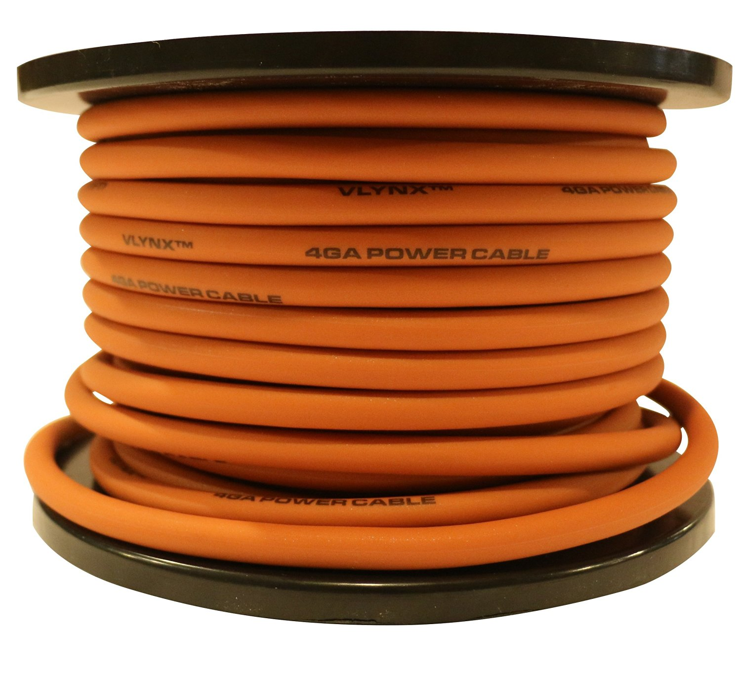 4ga - 100ft 4 ga VLYNX ORANGE 4 Gauge Wire Amplifier and Battery Installation Power Cable