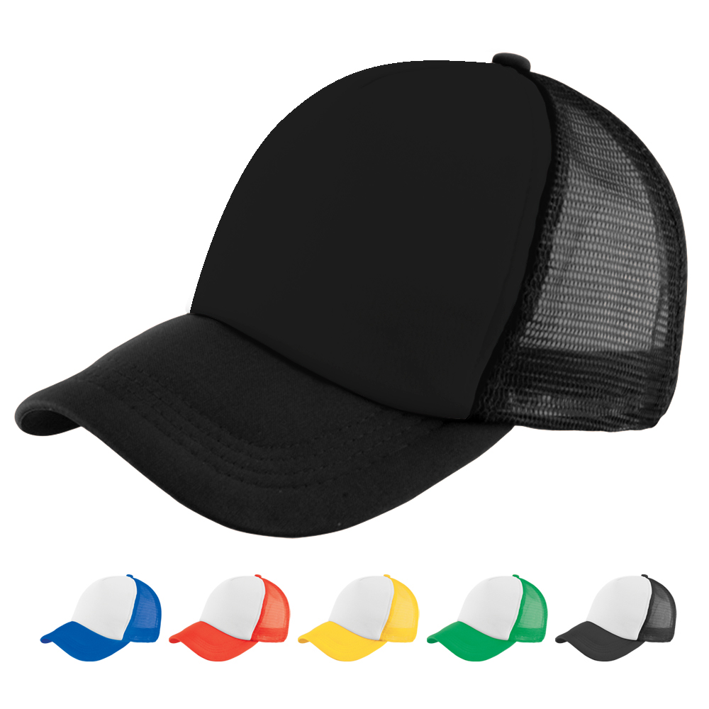 58cm Size Fitted Black Sublimation Promotional Logo Common Fabric Foam Mesh Trucker Hat, Trucker Cap