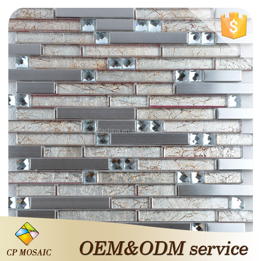 Gold foil glass mosaic with strip tile crystal glass with 304 Stainless Steel Sheet Metal Diamond Crystal Glass Blend Mosaic Til