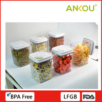 High Quality Different Size Set Food Grade BPA Free Square Plastic Container/Airtight Easy Lock Food Container Set