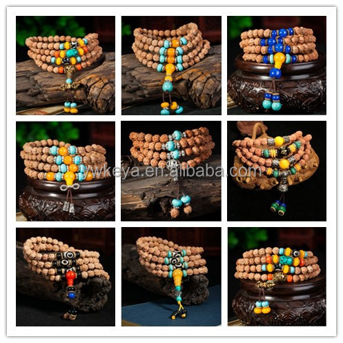 6mm cheap Nepal Rudraksha prayer beads 108 beads japa mala with 14 colors for choice