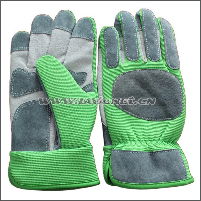 Fashion Pig Leather With Green Thorn Resistant Gardening Gloves for Heavy Duty Garden Working