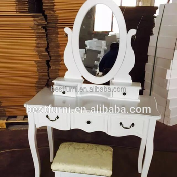 2016 Latest French Style Dressing Table Make Up Dresser With Mirror And Stool High