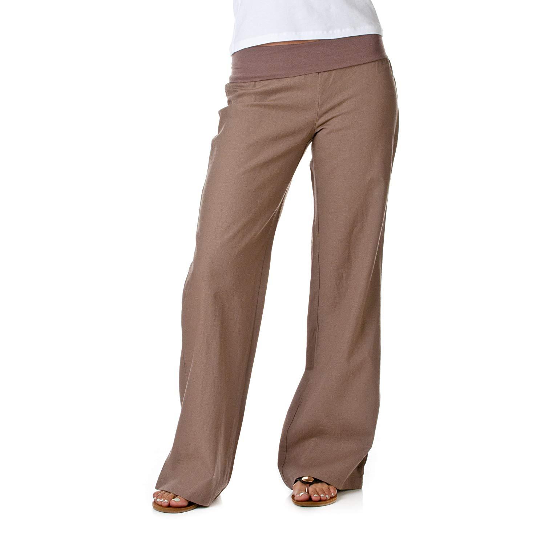 f832d08646b Get Quotations · Love Tree Women s Fold-Over Waist Linen Pants
